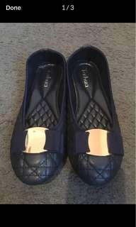 Dark blue comfy soft flat shoe