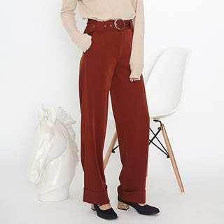 Brick red high waist wide leg pants