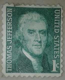 Perangko Jadul USA Thomas Jefferson 1 cent.