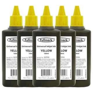 [FREE POSTAGE] 5 x 100ml (YELLOW) Fullmark BI099 Universal Refill Inkjet Ink - Compatible with HP/CANON/EPSON/LEXMARK/BROTHER