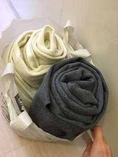 Fabric cloth textile thick grey and fluffy white