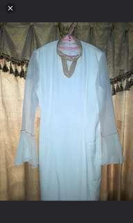 Luxury Pearl White Long Dress untuk pesta size M