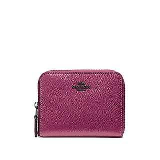 de2dc00b8002 NEW ARRIVAL Coach Small Zip Around Wallet In Metallic Crossgrain Leather  With Coach Gift Box Metallic