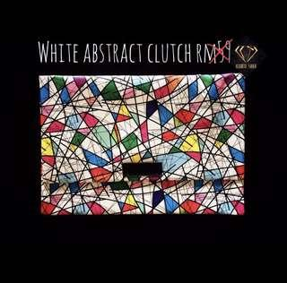 White Abstract Clutch