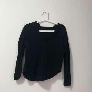Black Basic Cotton V Hooded Top