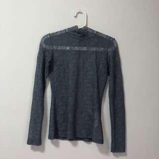 Style Nanda Blue Grey Lace Mock Neck Top