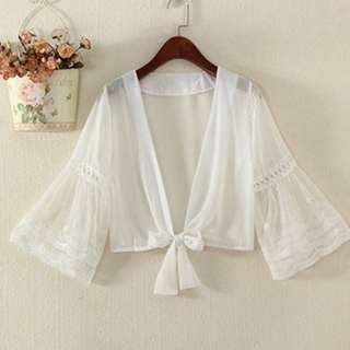 White Chiffon Front Tie Cardigan Cover up