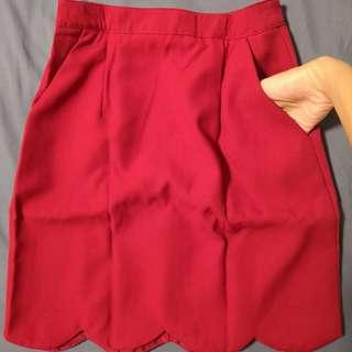 Red Office/ Formal scallop hem Skirt - Size S