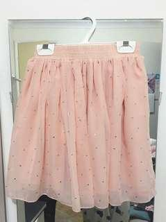 Coral sequin frilly skirt
