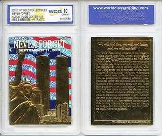 """2002 23K Gold Collectibles """" AMERICA'S HEROES"""" World Trade Center 9/11 """"PATRIOTIC"""" 1st Anniversary WCG 10 GEM"""