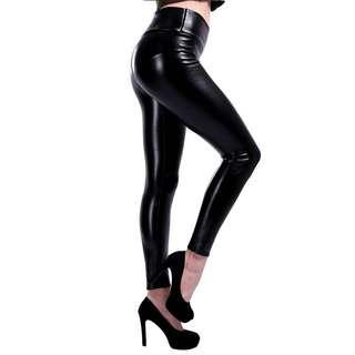 Faux Leather Full Length High Waist Leggings Tights