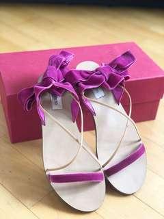 Valentino Velvet Lace Up Sandals Shoes 絲帶鞋 涼鞋 繫帶鞋 芭蕾舞鞋 拖鞋 綁帶鞋 蝴蝶鞋