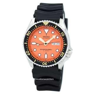 SEIKO / SKX011J1 / DIVERS / AUTOMATIC / MENS / 43 MM / 20ATM  / ORANGE DIAL /  / RUBBER STRAP