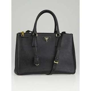 TAS PRADA Saffiano Lux Leather Double Zip Medium