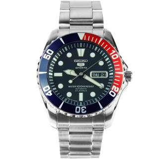 SEIKO / SNZF15J1 / SEIKO 5 / SPORTS / AUTOMATIC / MENS / 44 MM / 10ATM  / DARK BLUE DIAL /  / STAINLESS STEEL STRAP / BLUE RED BEZEL