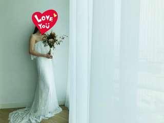💯99 new: pre-wedding white dress gown 拖尾婚紗