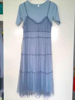 Light blue mesh midi dress