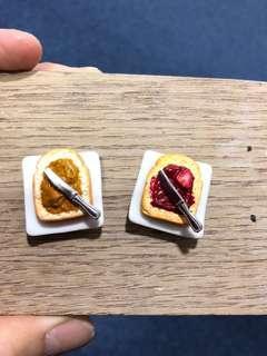 Handmade Miniature Peanut Butter Toast & Strawberry Toast