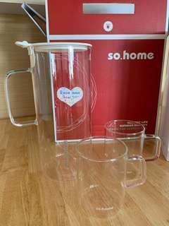 全新有盒so home耐熱玻璃冷熱水壺三件套裝 花茶杯