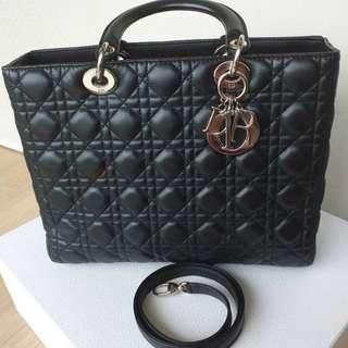 Lady Dior Large Lambskin in Black with SHW