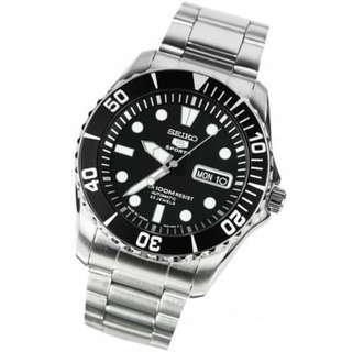 SEIKO / SNZF17J1 / SEIKO 5 / SPORTS / AUTOMATIC / MENS / 44 MM / 10ATM  / BLACK DIAL / STAINLESS STEEL STRAP / BLACK BEZEL