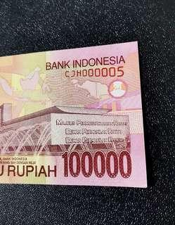 🇲🇨 Indonesia 100000 Rupiah Banknote~Low S/N 000005