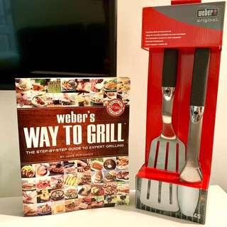 """Barbecue Weber 2-Piece Stainless Steel Tool Set with """"Way To Grill Guide"""""""