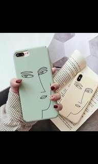 INSTOCK beige minimalistic abstract face phone case