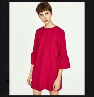 🚚 Zara Fuschia Frill Sleeve Dress