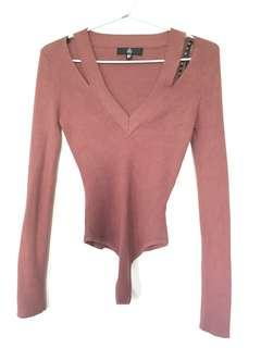Missguided Pink Knit Bodysuit