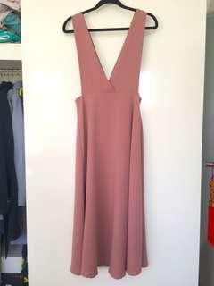 Pink Midi Pinafore Midi Dress