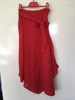 Red spotty midi skirt