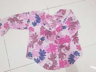 Kemeja Flowery fuschia Pink