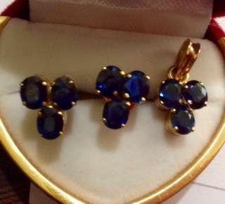 Genuine sapphire earring and pendant set