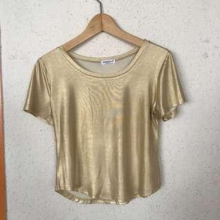 Gold shimmering cropped top