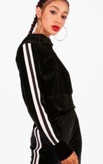 Black and White Stripe Velour Crop Hoodie