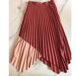 The tinsel rack TTR Tanya Pleated Asymmetrical Skirt (Rose) BNWT
