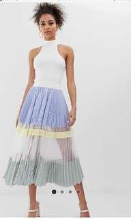 Asos unique design pleated maxi dress
