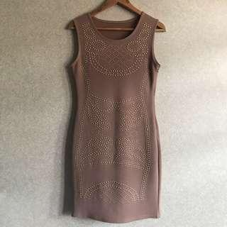 Embellished Gold Studded Nude Bodycon Dress