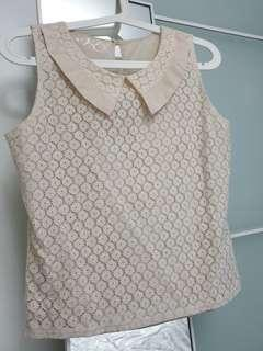 🚚 Lace Top / blouse, Beige S