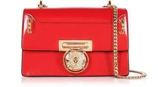 Authentic Balmain B.box Red Glossy Leather Flap Bag