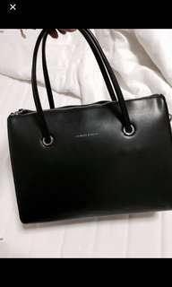 Charles and Keith Black Leather Handbag