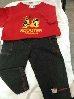 🚚 男童Junlor100%棉110cm公分紅色上衣