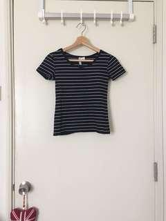 H&M Black & White Stripe T Shirt