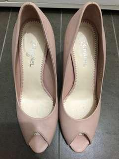 Authentic Chanel Pink Leather Peep Toe Pumps