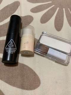 Free makeup: highlighter, mascara, eyeliner