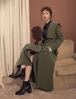 現貨marjorie時尚週,獨特大翻領造型雙排扣洋裝外套(軍綠S)