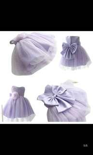 粉紫色女童花童裝
