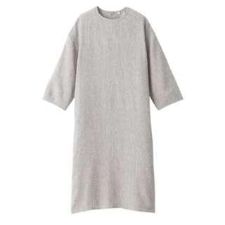 🚚 MUJI無印良品 *  全新淺灰M號 法國亞麻水洗七分袖洋裝 (原價$1790 , 標籤未拆)
