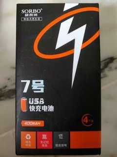 4pcs Sorbo rechargeable Li+ USB  AAA battery.